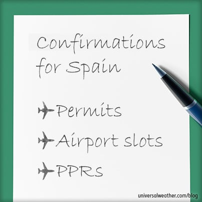 Operations to Spain: Flight Permits, PPRs and Slots